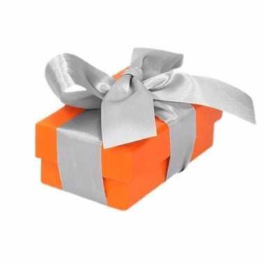 Kado doosjes oranje met zilveren strik 8 cm rechthoekig