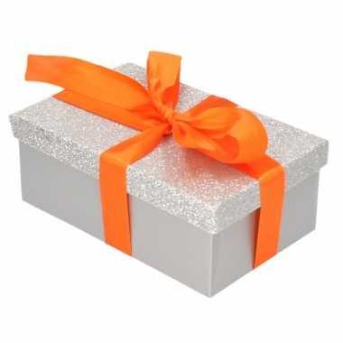 Kado doosjes zilver glitter 7 cm oranje kadolint