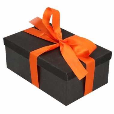 Kado doosjes zwart glitter 15 cm rechthoek met oranje lint
