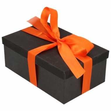 Kado doosjes zwart glitter 17 cm rechthoek en oranje lint