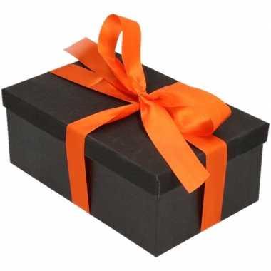 Kado doosjes zwart glitter 22 cm rechthoek en oranje lint