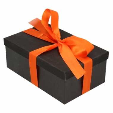 Kado doosjes zwart glitter 7 cm rechthoek met oranje lint