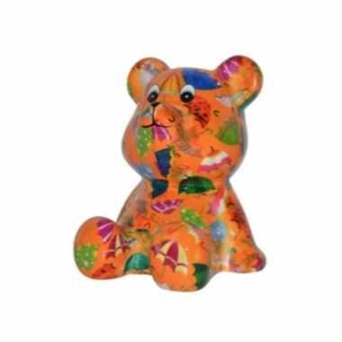 Kado spaarpot beer oranje met paraplus print 16 cm
