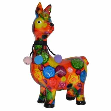 Kado spaarpot lama/alpaca oranje met print 23 cm