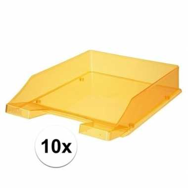 Kantoor postbakjes transparant oranje a4 van han 10 stuks