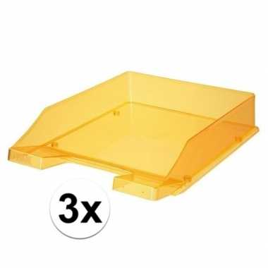 Kantoor postbakjes transparant oranje a4 van han 3 stuks