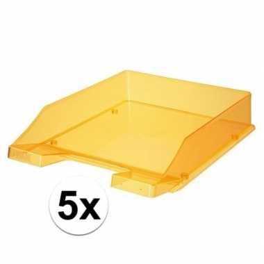 Kantoor postbakjes transparant oranje a4 van han 5 stuks