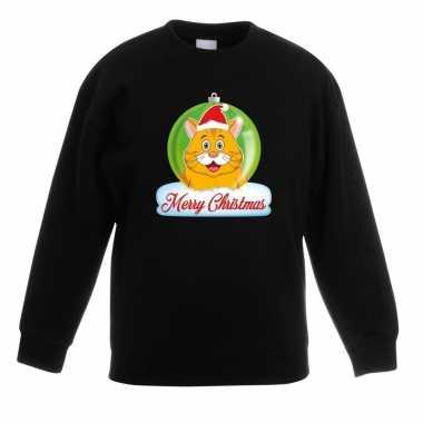 Kersttrui oranje kat / poes kerstbal zwart voor jongens en meisjes