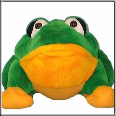 Kikker knuffel groen en oranje