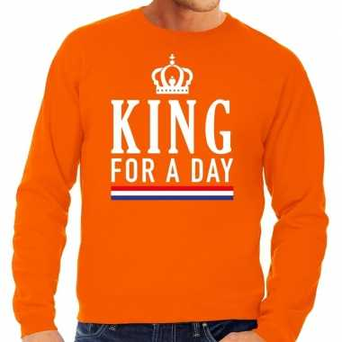 King for a day sweater oranje heren