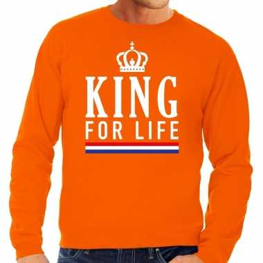 King for life sweater oranje heren