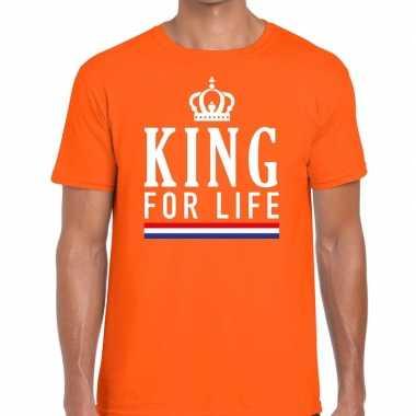 King for life t-shirt oranje heren