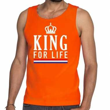 King for life tanktop / mouwloos shirt oranje heren