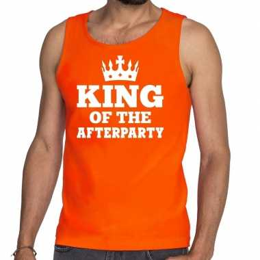 King of the afterparty mouwloos shirt / tanktop oranje heren
