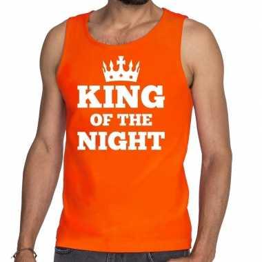 King of the night mouwloos shirt / tanktop oranje heren