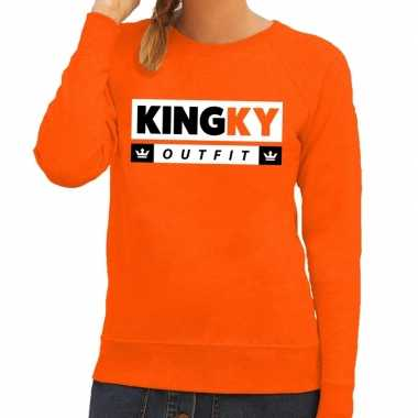 Kingky outfit sweater oranje dames