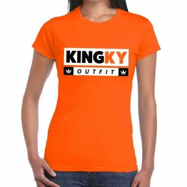 Kingky outfit t-shirt oranje dames