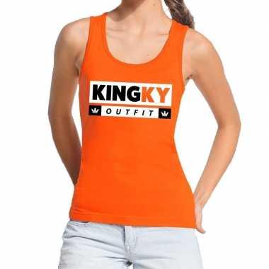 Kingky outfit tanktop / mouwloos shirt oranje dames
