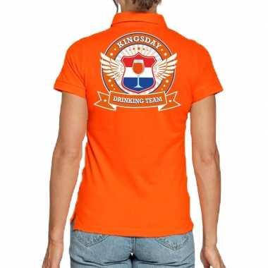 Kingsday drinking team polo t-shirt oranje met kroon voor dames