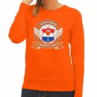 Kingsday drinking team sweater oranje dames