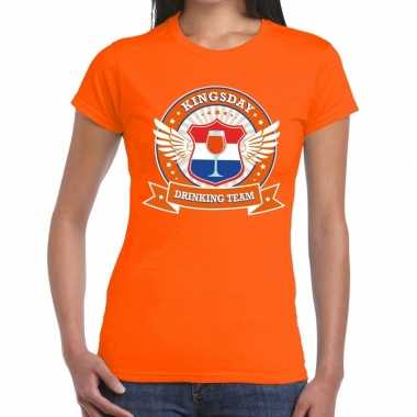 Kingsday drinking team t-shirt oranje dames