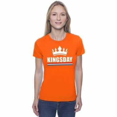 Kingsday met een kroon shirt oranje dames