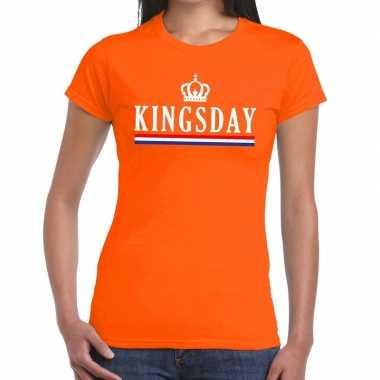 Kingsday met hollandse vlag t-shirt oranje dames