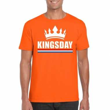 Kingsday met kroon shirt oranje heren