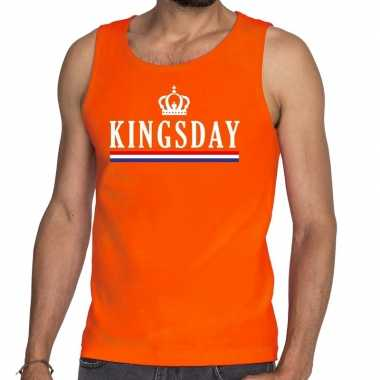 Kingsday met vlag en kroon tanktop / mouwloos shirt oranje heren