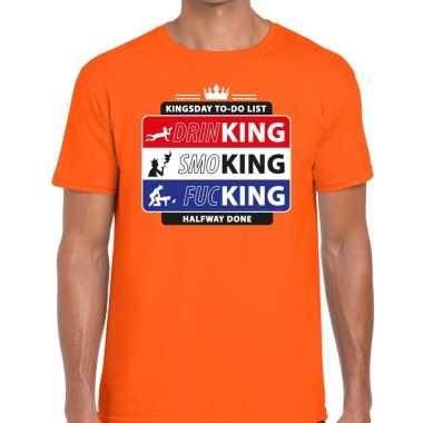 Kingsday to do list shirt oranje heren