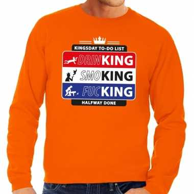 Kingsday to do list sweater oranje heren