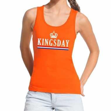 Kingsday vlag tanktop / mouwloos shirt oranje dames