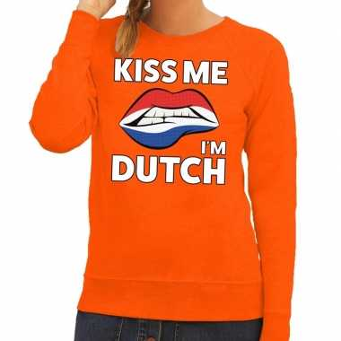 Kiss me i am dutch oranje trui voor dames