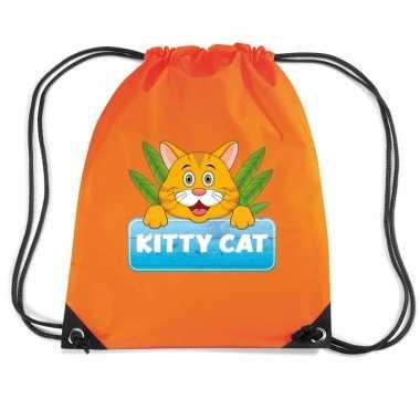 Kitty cat poezen trekkoord rugzak / gymtas oranje voor kinderen