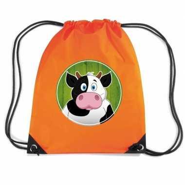 Koe dieren trekkoord rugzak / gymtas oranje voor kinderen