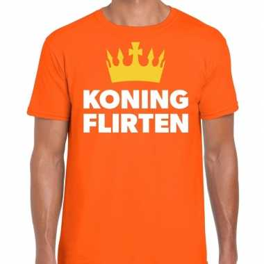 Koning flirten t-shirt oranje heren