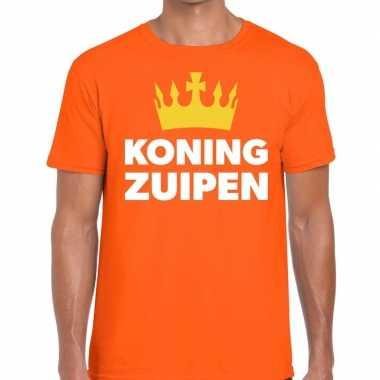 Koning zuipen t-shirt oranje heren