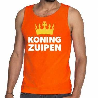 Koning zuipen tanktop / mouwloos shirt oranje heren