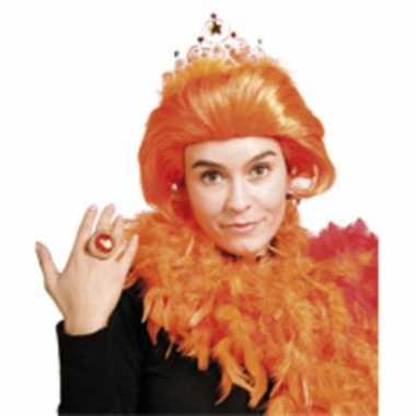 Koninginnenpruik beatrix oranje met tiara