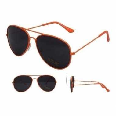 Koningsdag aviator zonnebril neon oranje voor volwassenen