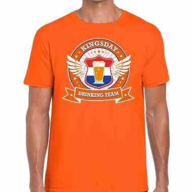 Koningsdag drinking team t-shirt oranje heren