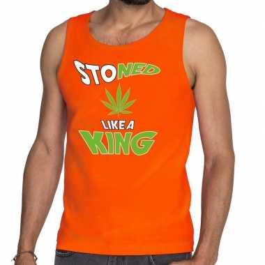 Koningsdag fun singlet stoned oranje heren