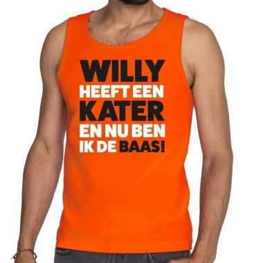 Koningsdag fun singlet willy heeft een kater oranje heren