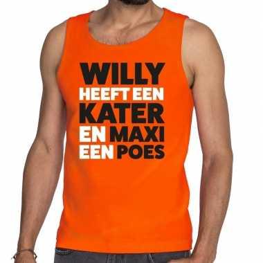 Koningsdag fun singlet willy kater maxi poes oranje heren
