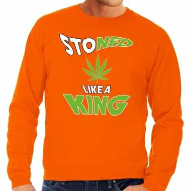 Koningsdag fun sweatshirt stoned oranje heren