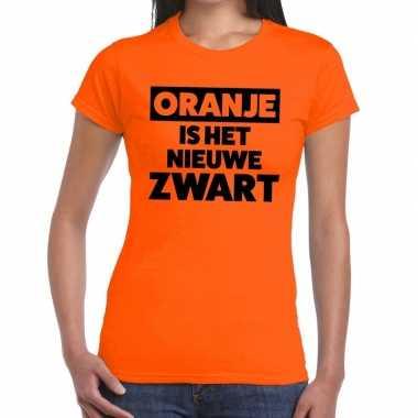 Koningsdag fun t-shirt oranje is het nieuwe zwart dames