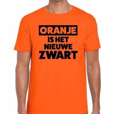 Koningsdag fun t-shirt oranje is het nieuwe zwart heren