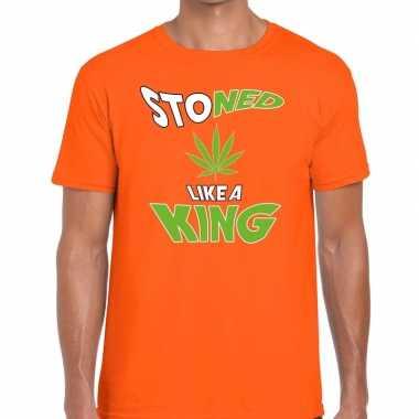 Koningsdag fun t-shirt stoned oranje heren
