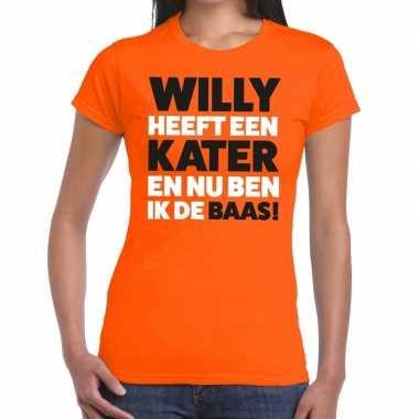 Koningsdag fun t-shirt willy heeft een kater oranje dames