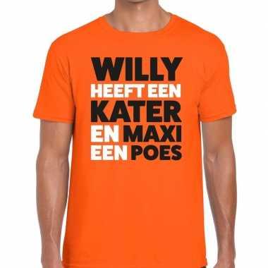 Koningsdag fun t-shirt willy kater maxi poes oranje heren